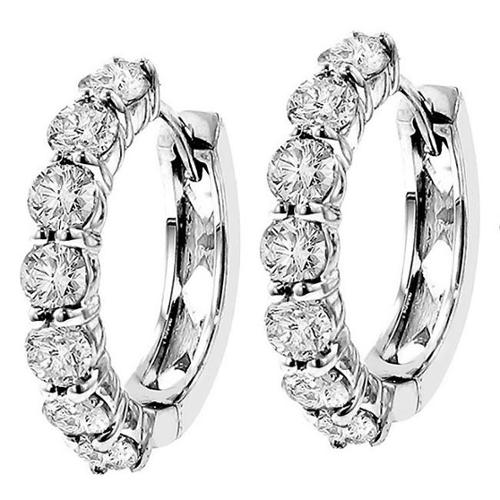 VIP Jewelry Art White Gold 3ct TDW Diamond Hoop Earrings 14k White Gold