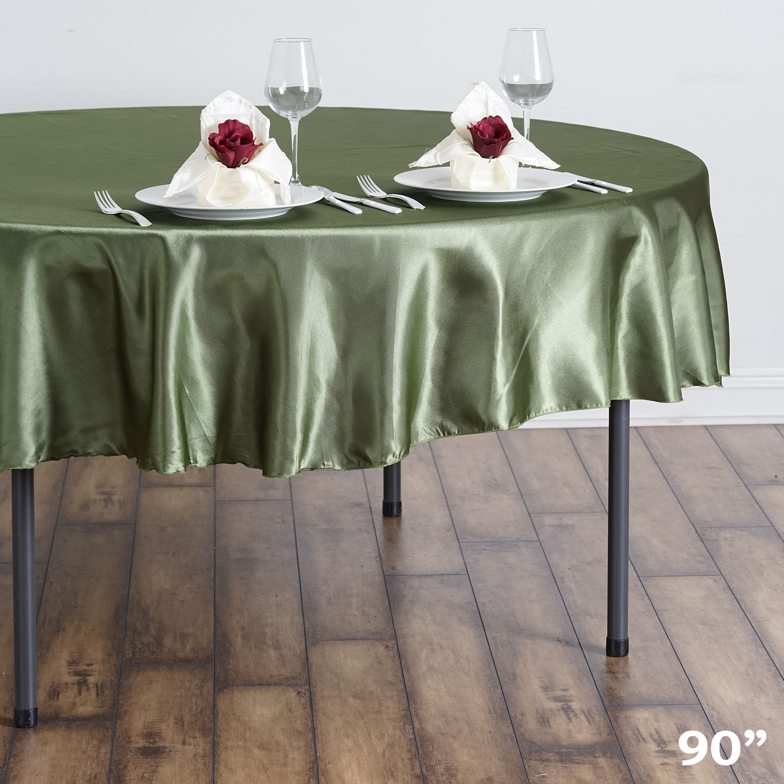 "BalsaCircle 90"" Satin Round Tablecloth Wedding Table Linens Decorations by"