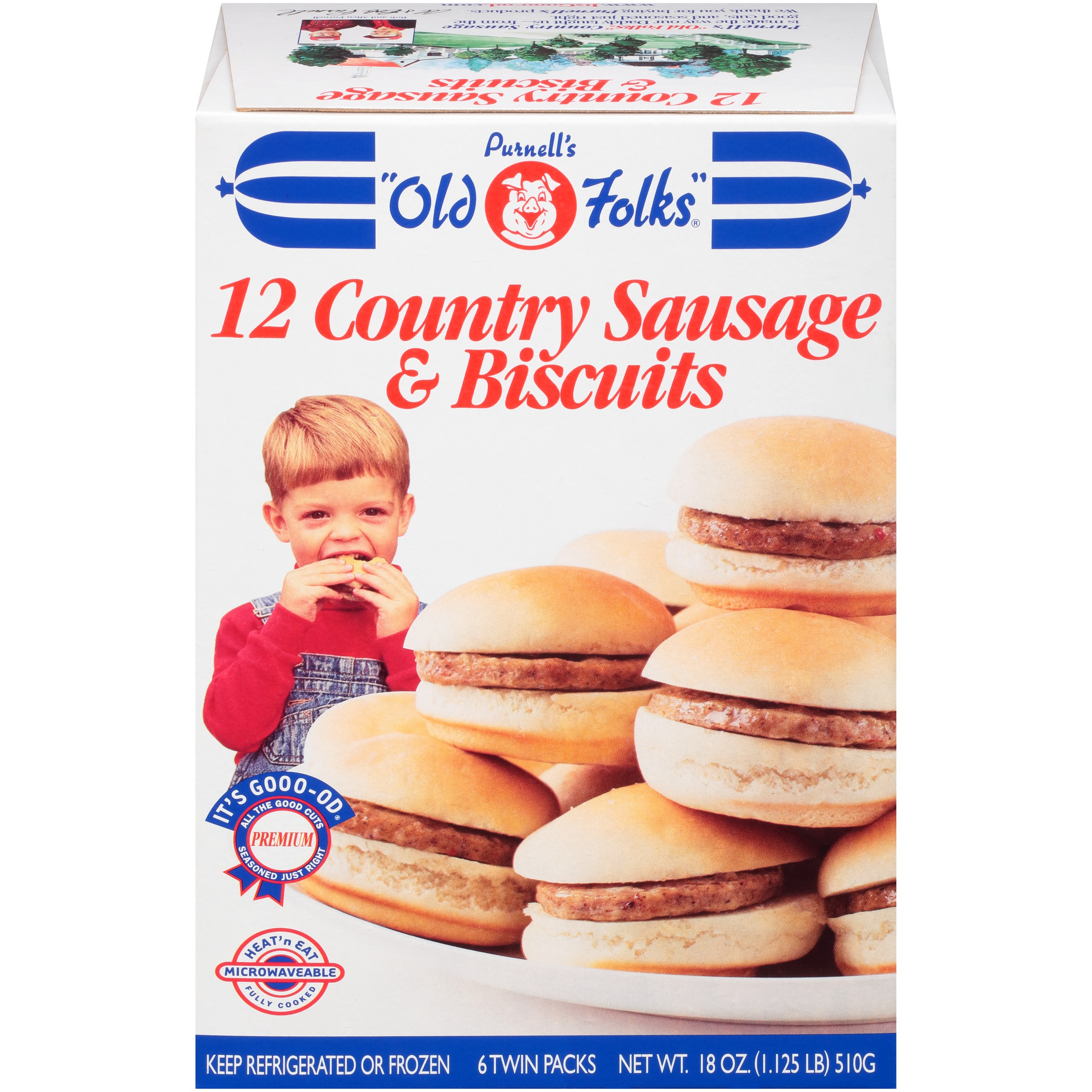Purnell's Old Folks 12 Ct 6 Twin Packs Country Sausage & Biscuits 18 Oz Box