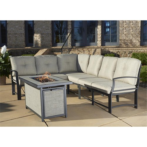 Cosco Outdoor 7 Piece Serene Ridge Aluminum Sofa Sectional Patio Furniture  Set With Cushions And