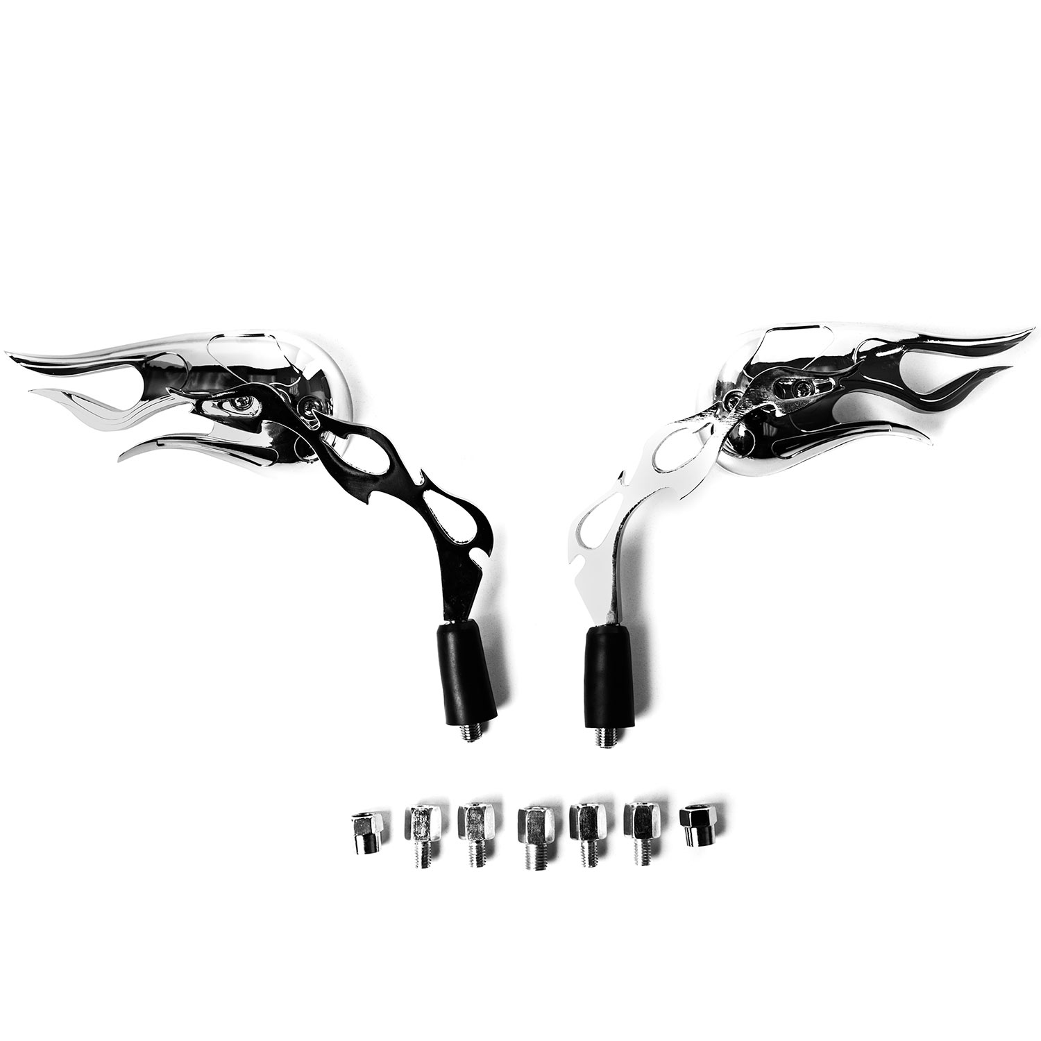 Flame Custom Chrome Motorcycle Rear View Mirrors For Kawasaki ZR Zephyr 550 750 - image 2 of 3
