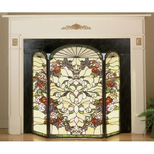 Meyda Tiffany 47991 Stained Glass   Tiffany Fireplace Screen from the Roses in B by Meyda Tiffany