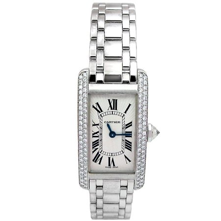Tank Americaine 18kt White Gold Diamond Ladies Watch ()