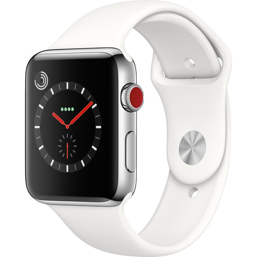Refurbished Watch Series 3 42mm Apple Stainless Steel Case with Soft White Sport Band GPS + Cellular MQK82LL/A