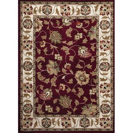 Persian Rugs 1005 Burgundy Floral Oriental Area Rug