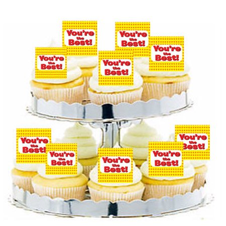 24pk Appreciation You're the Best! Yellow Red Edible Cupcake  Decoration Toppers / (Best Cupcake Delivery Nationwide)