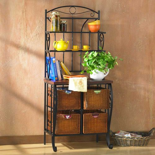 Lillian Iron & Rattan Baker's Rack