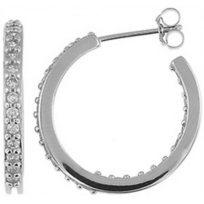 Doma Jewellery DJS02324 Sterling Silver (Rhodium Plated) Hoop Earrings with CZ - 21mm Diameter