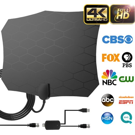 High Performance Indoor Tv (2019 Newest Version Indoor Digital HDTV Antenna, 80-100 Miles Long Range TV Antenna with Detachable Amplifier Signal Booster - 18ft High Performance Coaxial Cable - Freeview Local)