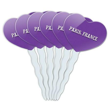 Paris France Heart Love Cupcake Picks Toppers - Set of 6