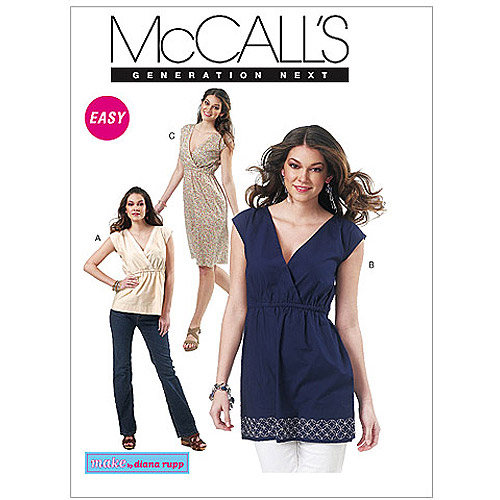 McCall's Pattern Misses' Top, Tunic and Dress, Y (XS, S, M)