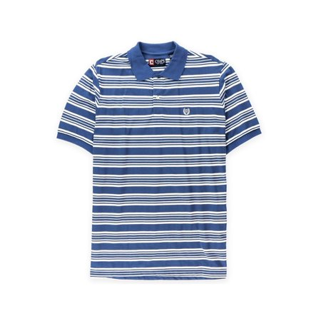128 Rugby (Chaps Mens Striped Logo Rugby Polo)