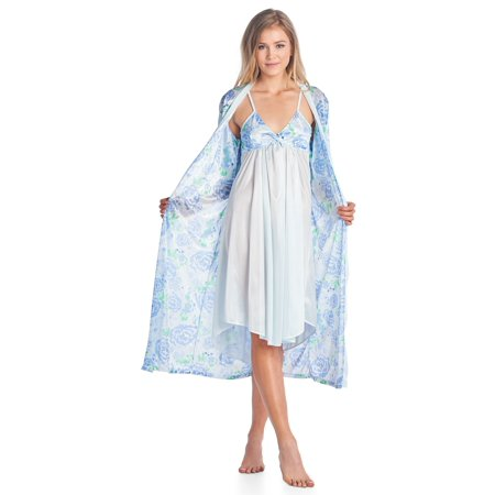 0029151b06 Casual Nights - Casual Nights Women s Satin 2 Piece Robe and Nightgown Set  - Walmart.com