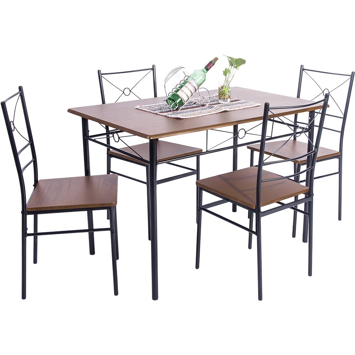 Harper&Bright Designs 5 Piece Wood and Metal Dining Set, Multiple Colors