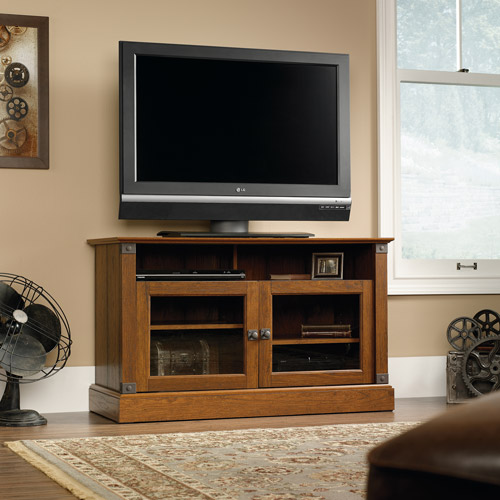 Sauder Carson Forge Washington Cherry Panel TV Stand for TVs up to 42""