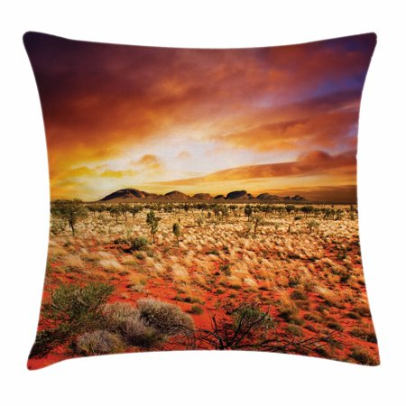 Desert Throw Pillow Cushion Cover, Sunset over Central Australian Landscape Dreamy Dramatic Sky Scenic Nature, Decorative Square Accent Pillow Case, 24 X 24 Inches, Orange Yellow Coral, by Ambesonne