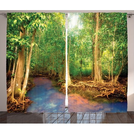 Rainforest Decorations Curtains 2 Panels Set Roots Of Mangrove Trees With Turquoise Creek Asian Nature