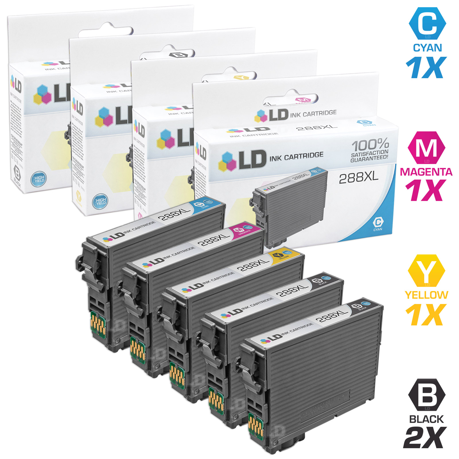 LD Remanufactured Epson 288   288XL   T288   T288XL Set of 5 High Yield Cartridges (2 Black, 1 Cyan, 1 Magenta, 1... by LD Products