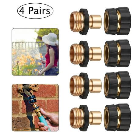 Garden Hose Quick Connect Set,Set of 4 pack,Brass Hose Tap Adapter Connector,Standard 3/4