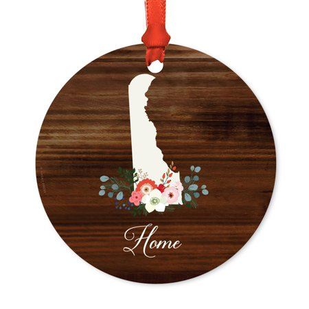 US State Round Metal Christmas Ornament, Rustic Wood with Florals Home, Delaware, Includes Ribbon and Gift - Party Store Delaware