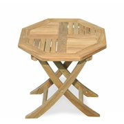 """18"""" Natural Teak Octagon Outdoor Patio Dining Wooden Folding Table"""