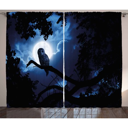 Night Curtains 2 Panels Set, Quiet Night in the Woods Full Moon Tall Trees and Owl on Branch Tranquil Scene, Window Drapes for Living Room Bedroom, 108W X 96L Inches, Black Blue White, by