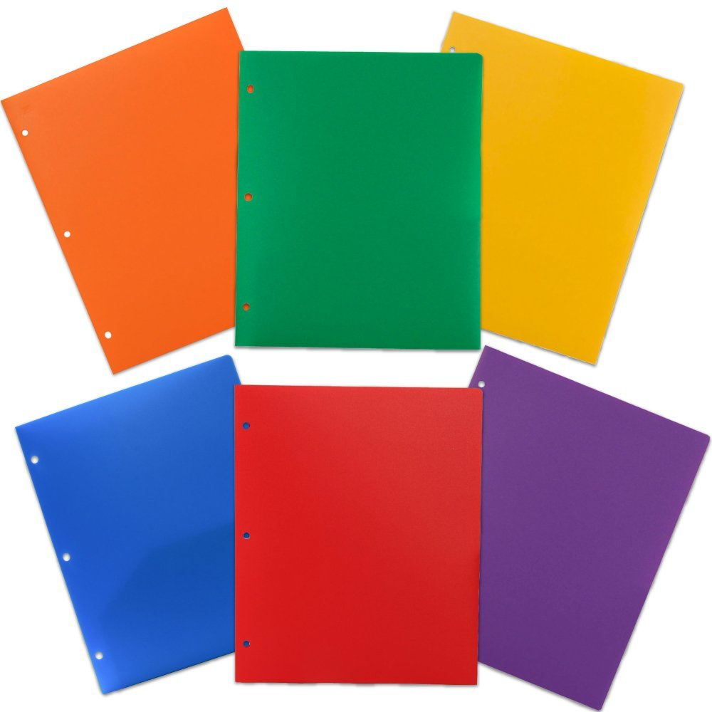 JAM Paper Heavy Duty 2-Pocket Plastic 3-Hole Punched Presentation Folders, Assorted Colors, 6pk