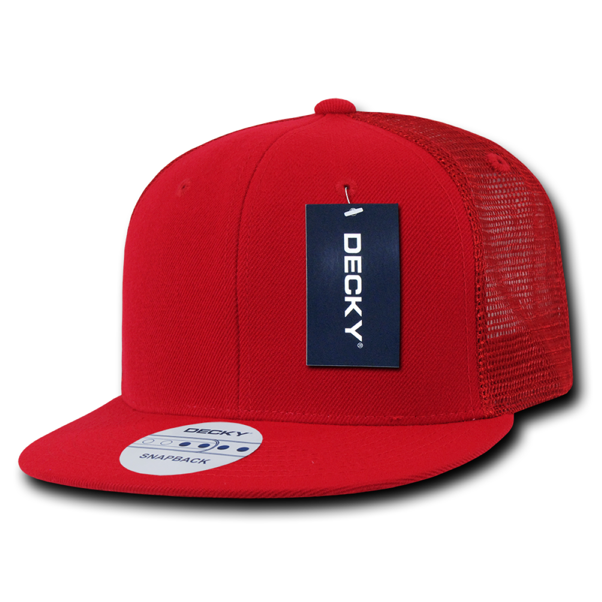 Decky Trucker Hats: Decky 6 Panel Flat Bill Trucker Cap, Red