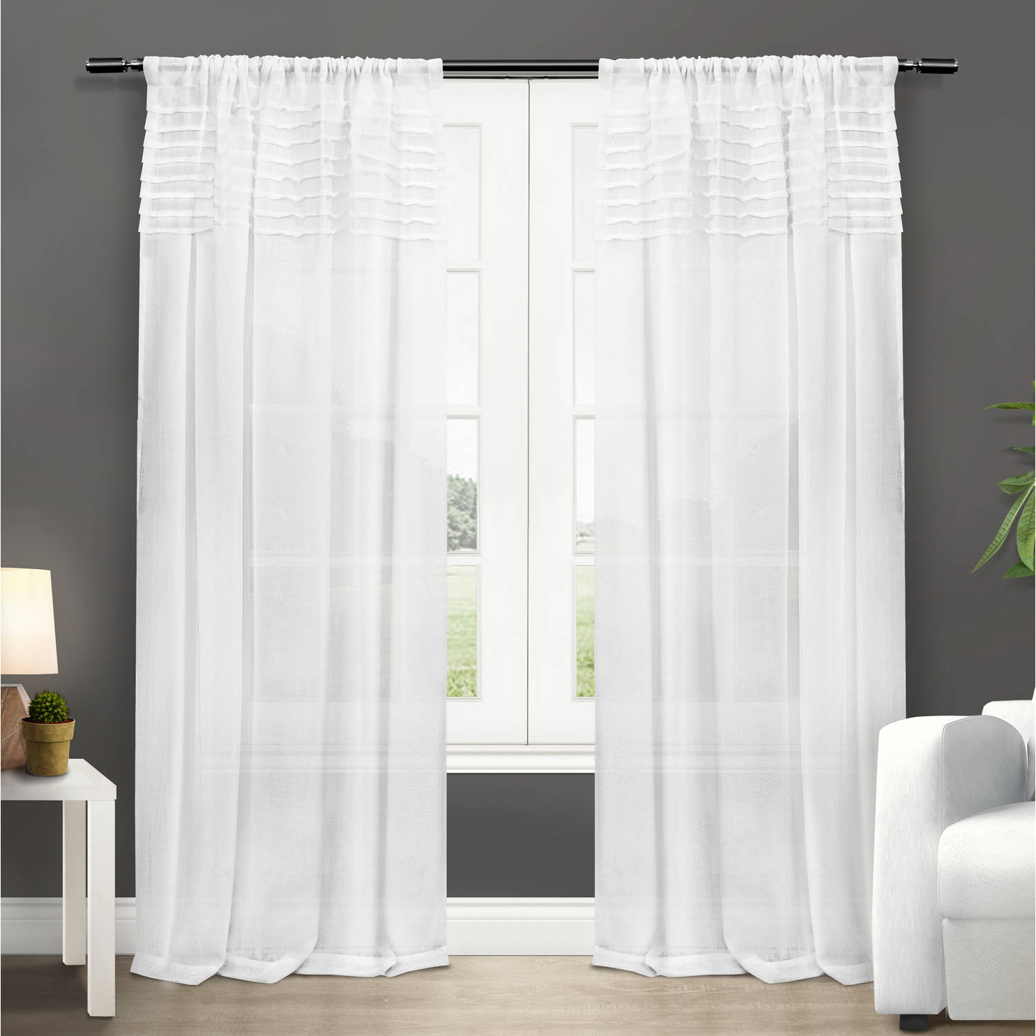"""Exclusive Home Barcelona Rod Pocket Window Curtain Panels, 50"""" x 84"""", White, Set of 2"""