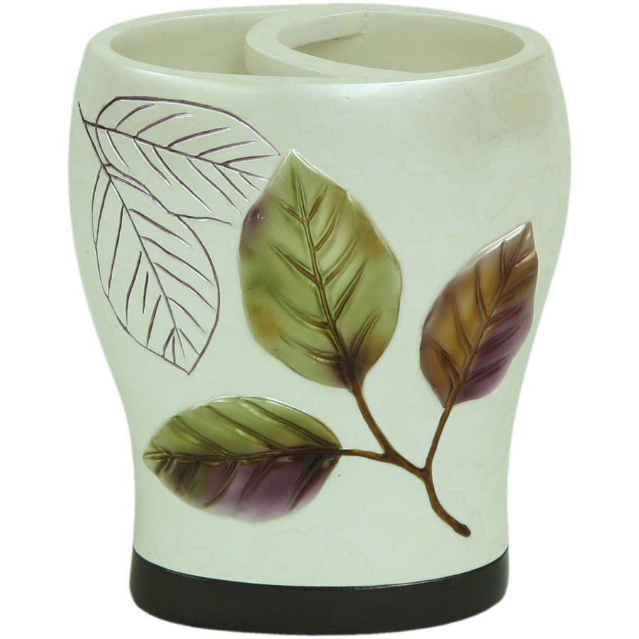 Bacova Guild Purple Leaves Wide Opening Resin Iridescent Toothbrush Holder by Bacova Guild LTD