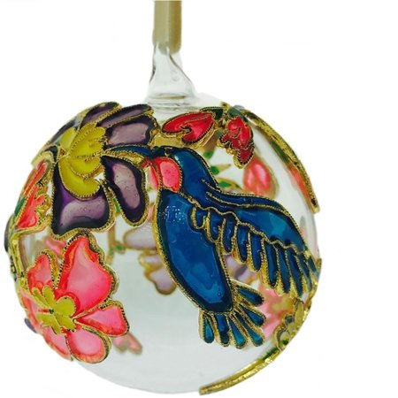 Hummingbird Cloisonne Glass Ball Christmas Tree Ornament Bird Decoration New