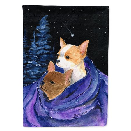 Starry Night Chihuahua Flag Canvas House Size