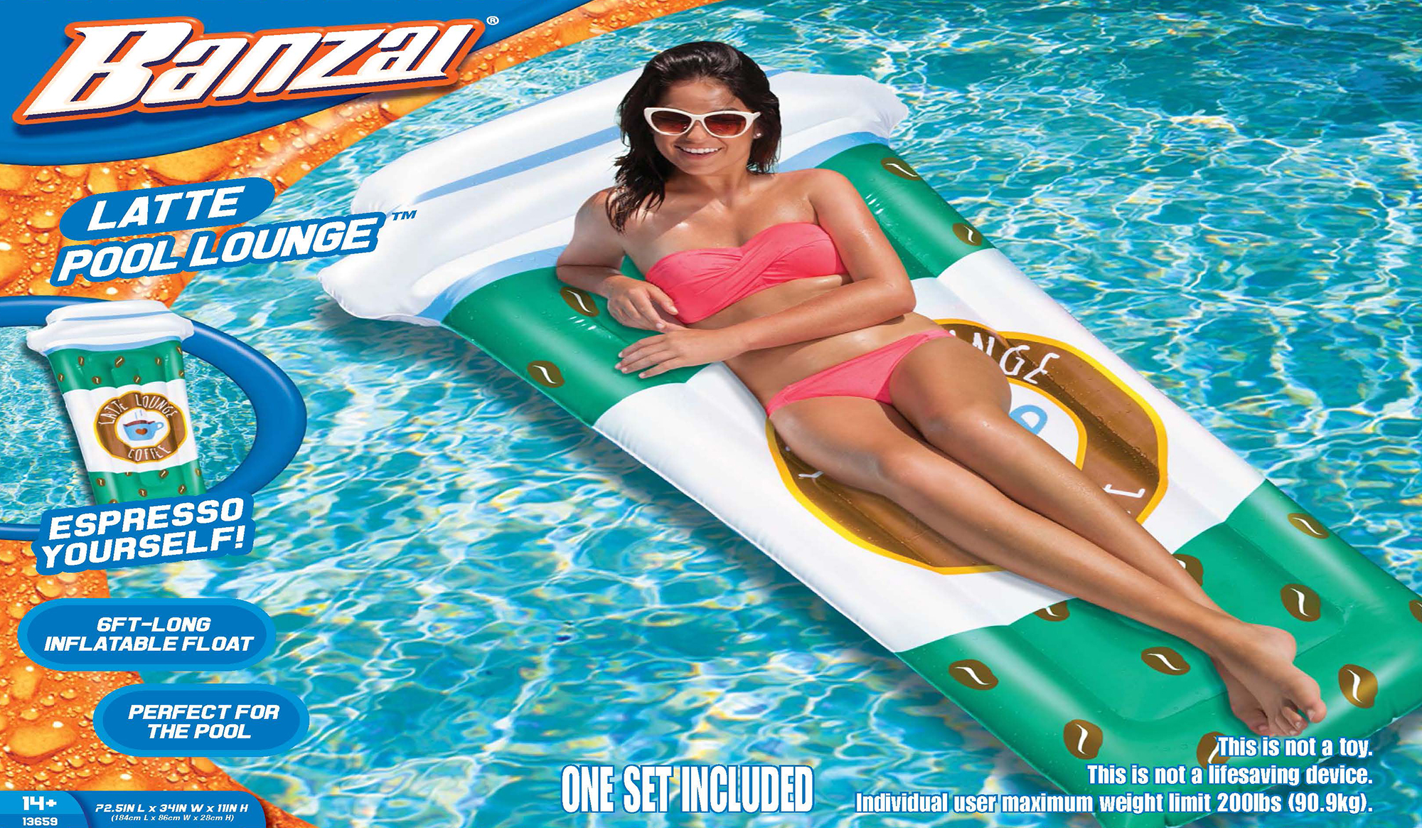 Banzai Latte Pool Lounge (Inflatable Floating Swimming Backyard Aqua Water  Pool Float)
