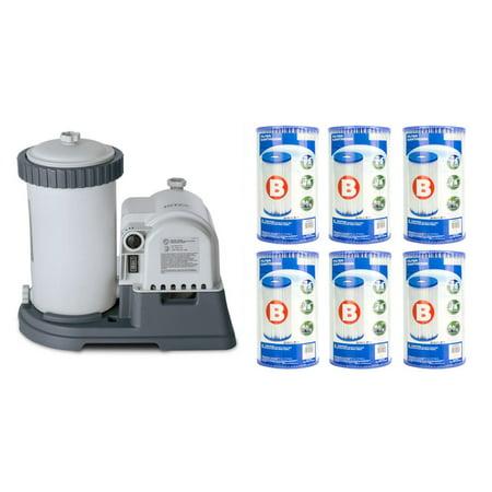 360 Gph Pump - Intex 2500 GPH Krystal Clear Pool Filter Pump w/ GCFI & 6 Type B Cartridges