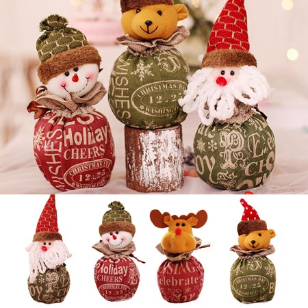 Christmas Candy Bag Cartoon Snowman Santa Claus Xmas Fruit Pouch Home Party Decoration Gift Holder - image 4 of 9