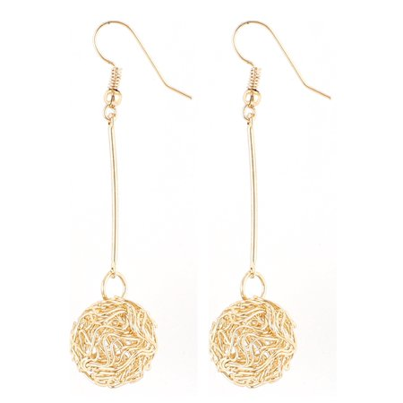 Lady Round Knot Dangle Drop Fish Hook Earrings Eardrop Earbob Gold Tone Pair