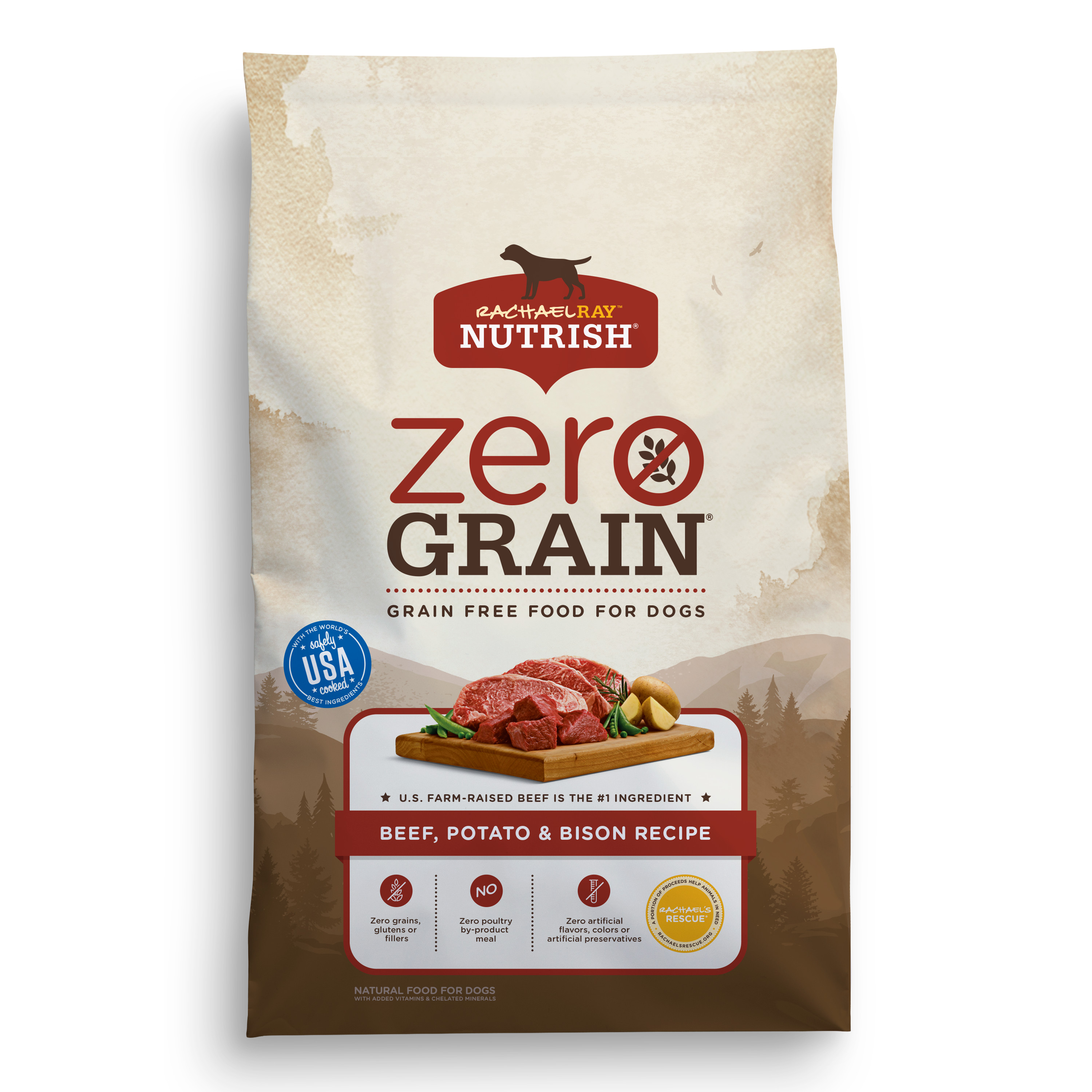 Rachael Ray Nutrish Zero Grain Natural Dry Dog Food, Beef, Potato & Bison Grain Free Recipe, 11 lbs