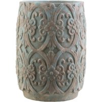 """12"""" Rustic Brown and Blue Decorative Cylindrical Ceramic Planter"""