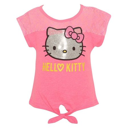hello kitty little girls pink glitter character print trendy knot t