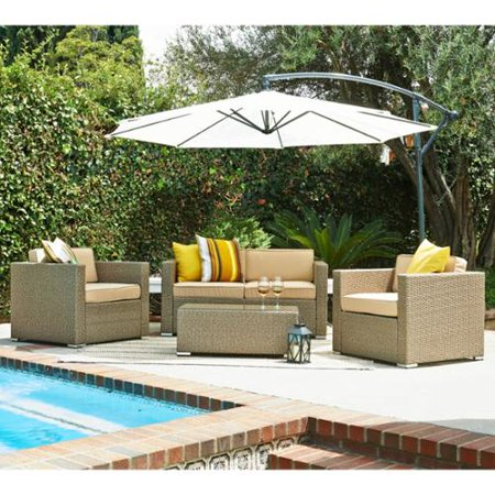The hom cane 5 piece light brown outdoor wicker for Hom patio furniture