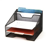 Mind Reader 3-Tier Mesh Desk File Organizer Tray with 5 Compartments, Black