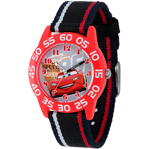 Disney Cars Boys' Plastic Case Watch, Black Nylon Strap