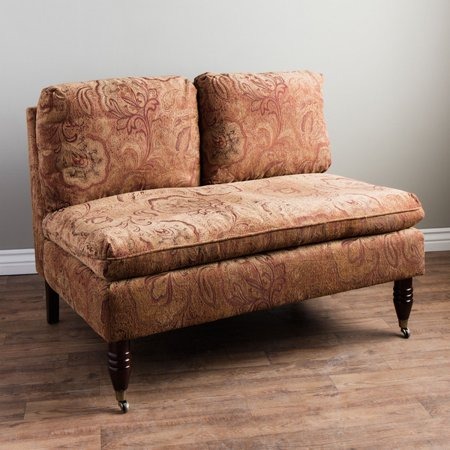 Sensational Bordeaux Nutmeg Paisley Loveseat Wood Sofa Gmtry Best Dining Table And Chair Ideas Images Gmtryco