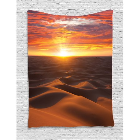 Desert Tapestry, Dramatic Sunset Scenery at Sahara Dunes Arid Landscape Morrocco Summer Nature, Wall Hanging for Bedroom Living Room Dorm Decor, 40W X 60L Inches, Gold Yellow Coral, by - Sahara Bedroom
