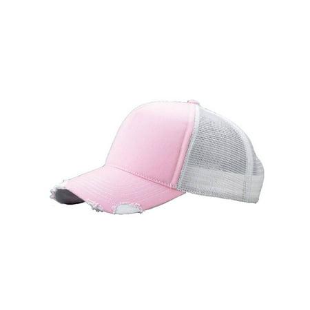 Cotton Twill Distressed Mesh Trucker Hat