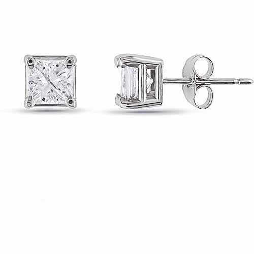 1 Carat T.W. Princess-Cut Diamond Solitaire 14kt White Gold Stud Earrings
