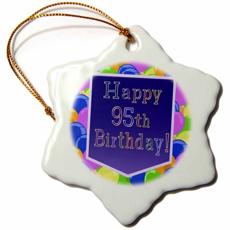 3dRose Balloons with Purple Banner Happy 95th Birthday - Snowflake Ornament, 3-inch