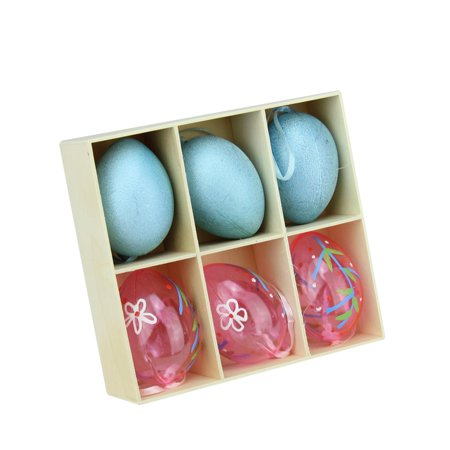 Set of 6 Blue Glitter and Transparent Pink Spring Easter Egg Ornaments 2.25