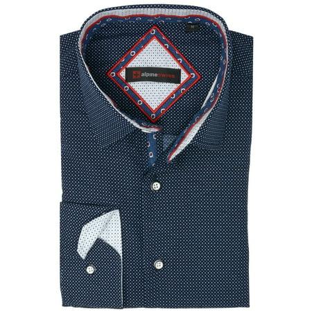 Alpine Swiss Wayne Mens Long Sleeve Button Down Dress Shirt Button Front (Button Down Mens Dress Shirt)