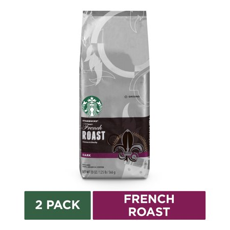 Starbucks French Roast Dark Roast Ground Coffee, Two 20-ounce Bags